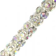 Clear AB rhinestone silver plated reticulated chain